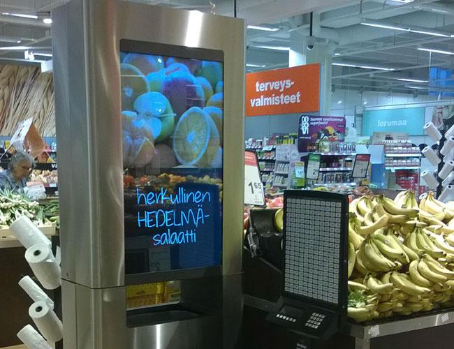 Урна в магазине с экраном для рекламы FINBIN MEDIABIN