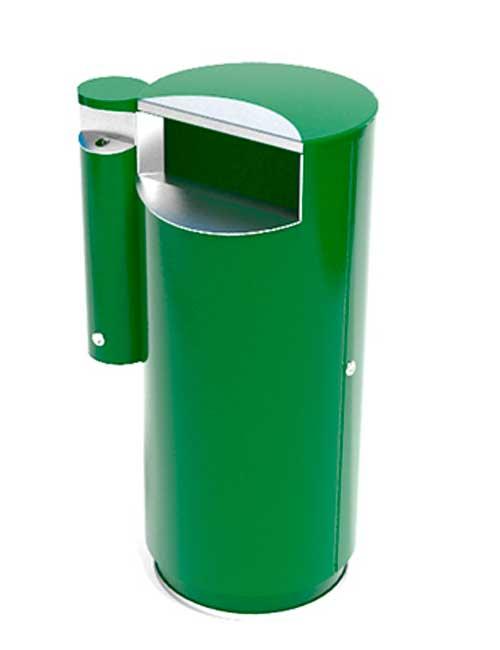 Зеленая урна для мусора с внешней пепельницей FINBIN CITY 100 верхняя крышка закрыта