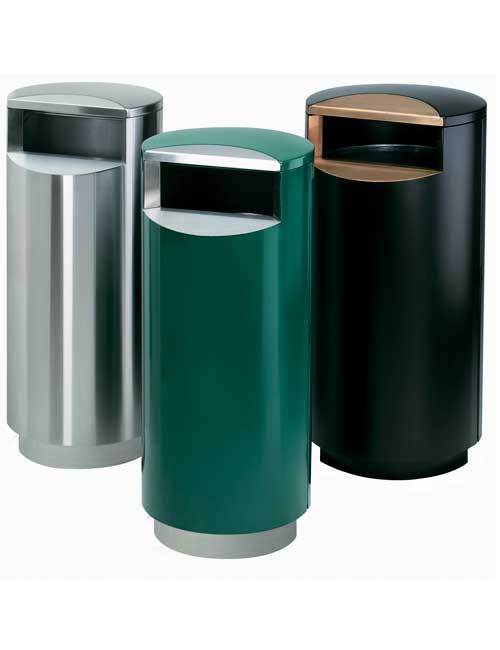 серия из трех урн FINBIN CITY 100 зеленая нержавеющая и черная на цоколях