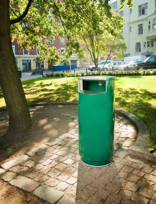 урна для мусора в парке зеленая напольная красивая FINBIN CITY 100
