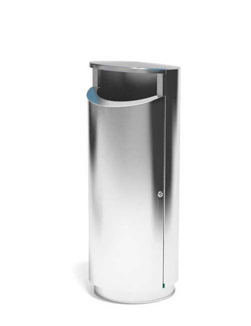 Урна уличная большая из нержавеющей стали на полу вместимость 120 литров мусора FINBIN NOVUS 120
