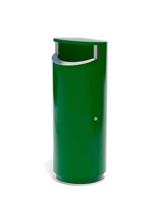 Урна зеленая ФИНБИН НОВУС 120 на зеленом цоколе из металла