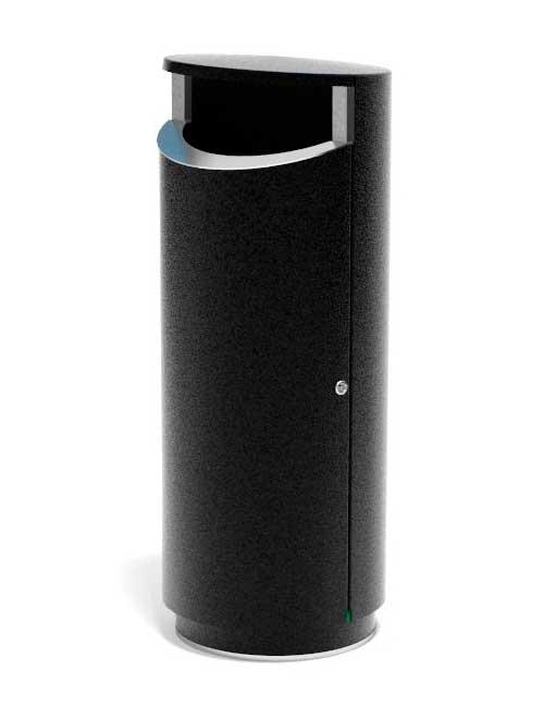 черная металлическая уличная урна FINBIN NOVUS 120 вместимость 120 литров