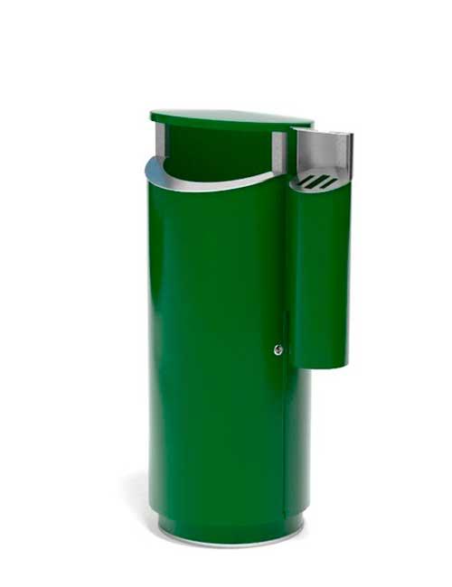Оцинкованная большая уличная урна с пепельницей зеленая FINBIN NOVUS 120