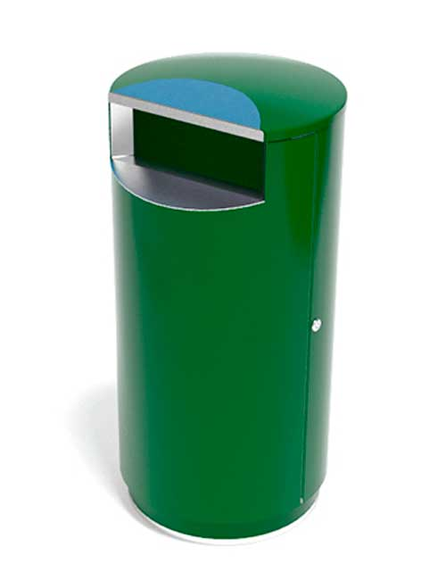 Зеленая по RAL урна с зеленым цоколем FINBIN CITY !40