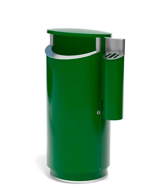 большая урна с пепельницей для улиц FINBIN NOVUS 160 зеленая