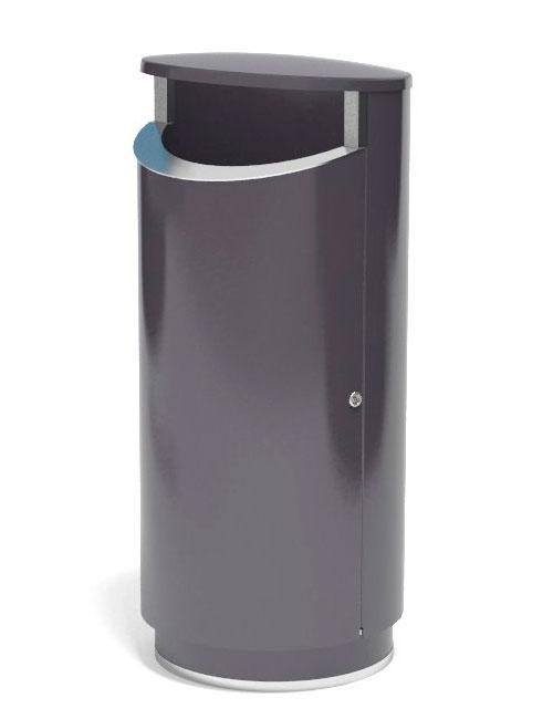 уличная серая урна металл толщиной 2 мм, напольная на цоколе FINBIN NOVUS 160 литров