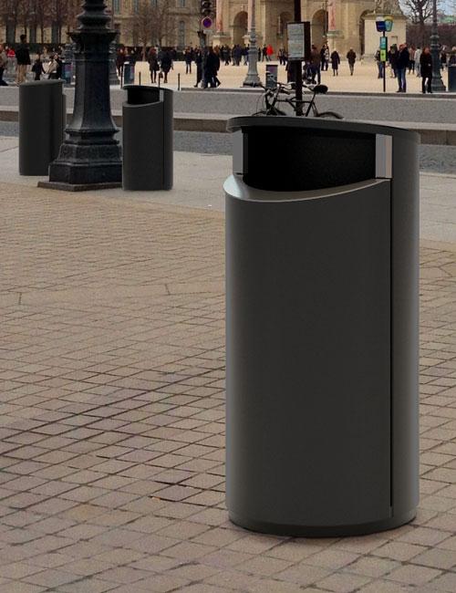 Урна уличная серая FINBIN NOVUS 160 установка на площади