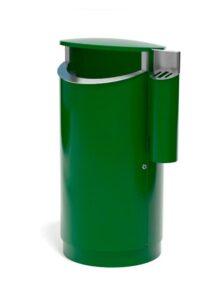 FINBIN NOVUS 200 литров уличная урна с пепельницей зеленая на цоколе