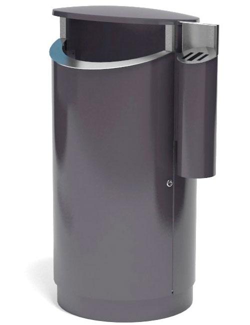 Урна 200 литров с пепельницей уличная серая на цоколе FINBIN NOVUS 200