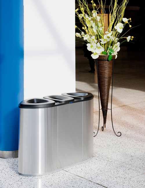 Урна нержавейка для 3 типов мусора FINBIN Bermuda 3