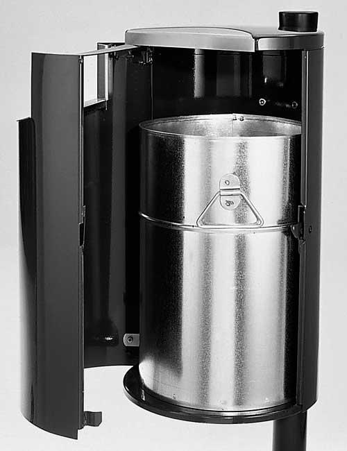 открытая дверка урны с внутренним баком для мусора, серия CITY FINBIN, цвет черный