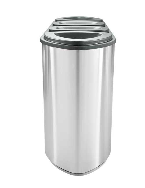 Нержавеющая урна для раздельного сбора мусора в 4 бака FINBIN BERMUDA 4