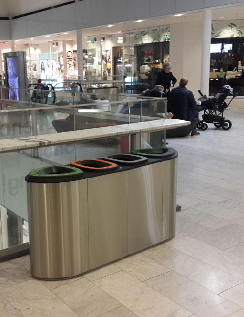 4 типа сортируемого мусора в урну BERMUDA QUARD от FINBIN нержавейка в торговом центре
