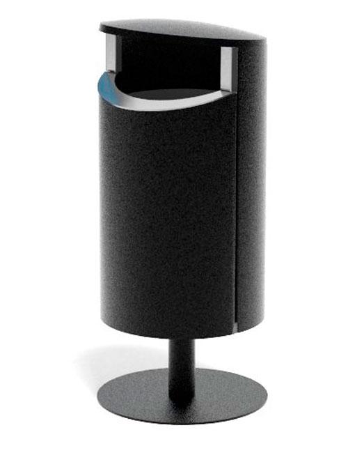 установленная на стойке уличная урна черный металлик толщина стали 2 мм FINBIN NOVUS 50