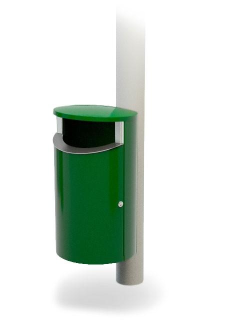 урна подвесная уличная зеленого цвета крепление на столб FINBIN NOVUS 50