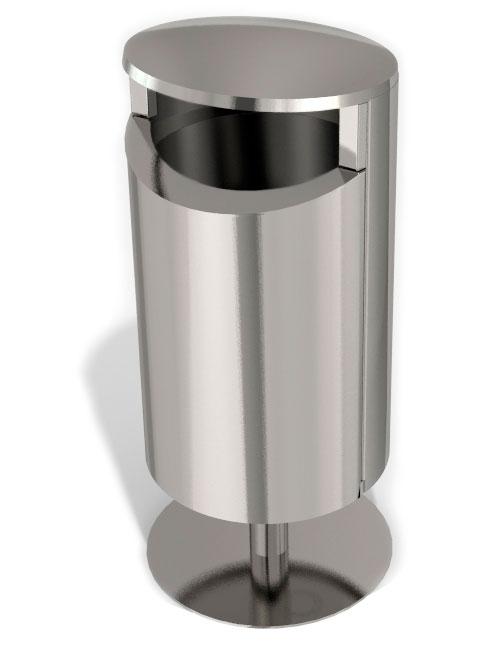 Урна из нержавеющего металла 2 мм с закрытым верхом напольная FINBIN NOVUS 50