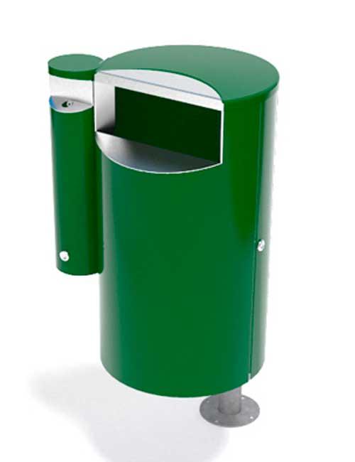 Урна и пепельница FINBIN CITY 60 COMBY зеленого цвета установка на столбе