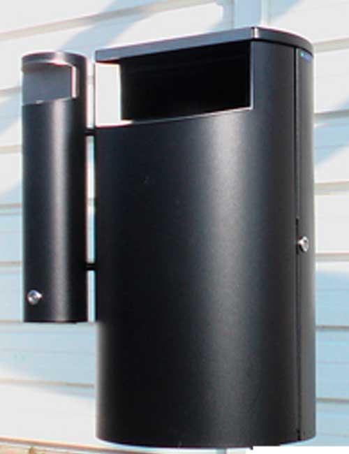 урна мусорная черный металлик FINBIN CITY 60 comby с пепельницей настенная
