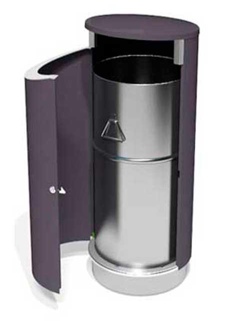 открытая дверка урны FINBIN NOVUS 80 бак для мусора оцинкованный