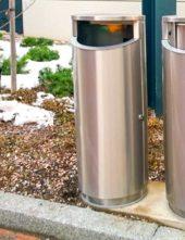 урна на улице напольная из нержавеющего металла 2 мм с закрытой крышкой FINBIN NOVUS 80