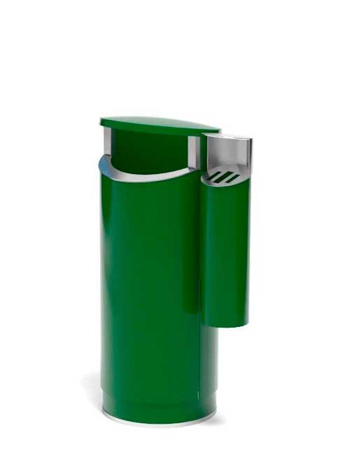 уличная урна из оцинковки зеленого цвета с пепельницей FINBIN NOVUS 80 COMBY на цоколе