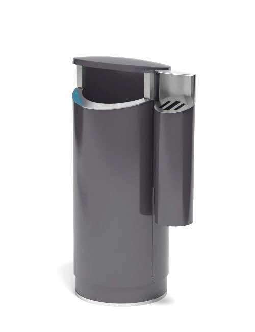 урна из металла цвет черный серый с внешней пепельницей FINBIN NOVUS 80 COMBY на сером цоколе