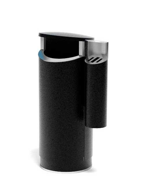 урна из металла цвет черный металлик внешняя пепельница FINBIN NOVUS 80 COMBY на черном цоколе
