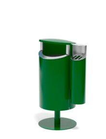 Зеленая урна с пепельницей напольная на стойке FINBIN NOVUS 50 COMBY