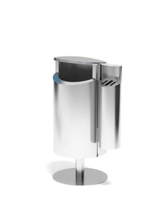 урна с пепельницей для курения из нержавейки объем 50 литров напольная уличная FINBIN NOVUS 50