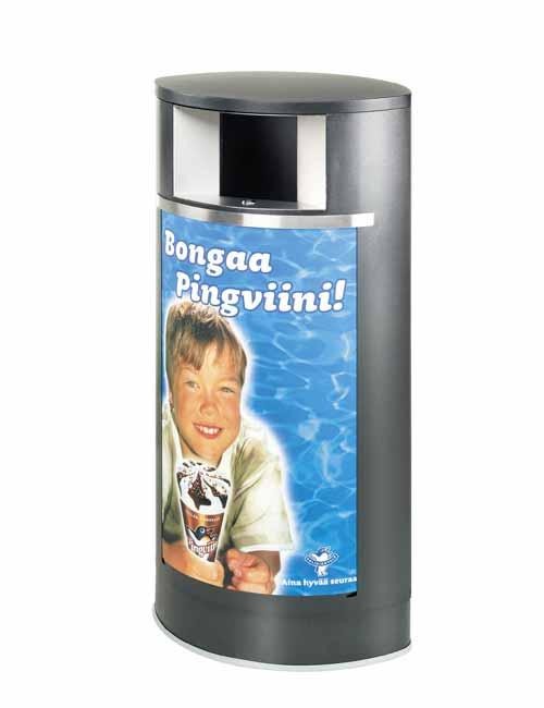 Рекламная урна для мусора FINBIN OAVL черный металлик