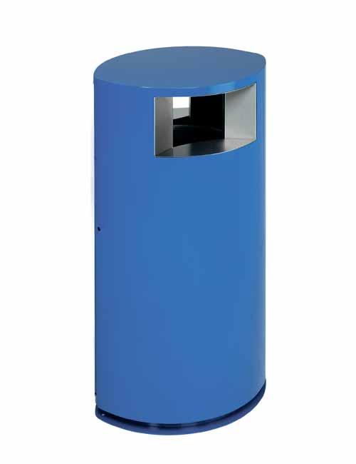 урна офисная для сбора мусора с двумя отверстиями окраска RAL синий FINBIN OVAL
