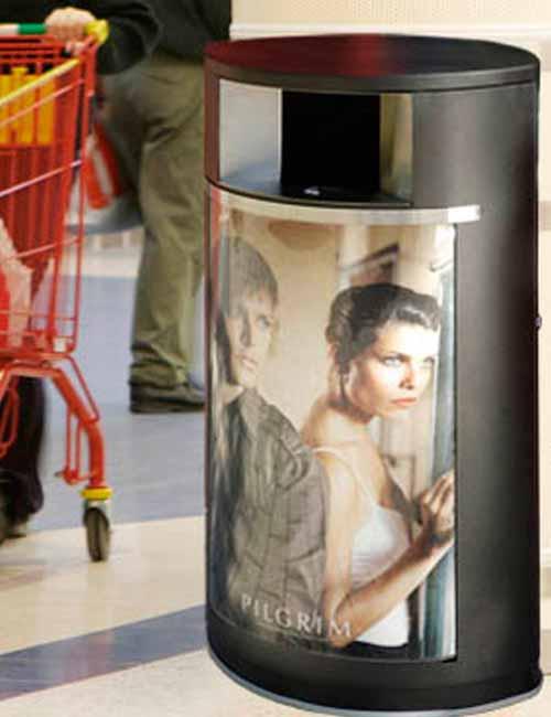 Урна в магазине с рекламой кинотеатра FINBIN OVAL