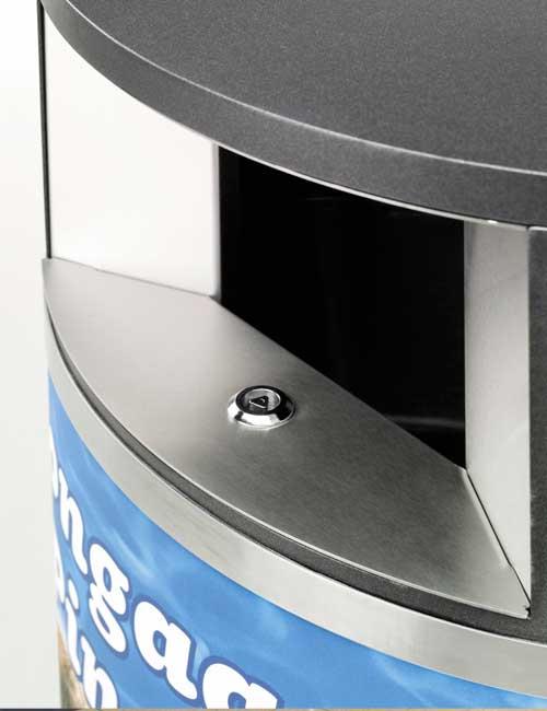 приемное отверстие урны FINBIN OVAL сталь / черный металлик, рекламный постер