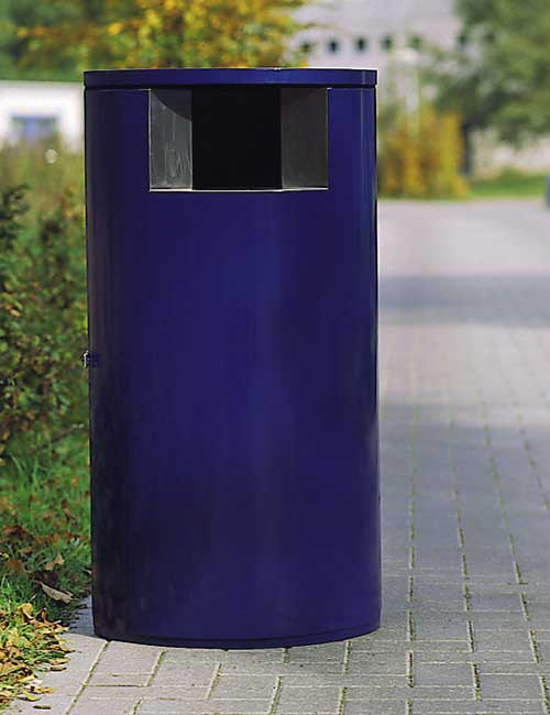 уличная урна FINBIN OVAL синяя окрашенная, одностороннее отверстие