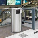 урна нержавеющий металл установлена в аэропорту одностороннее приемное отверстие FINBIN OVAL