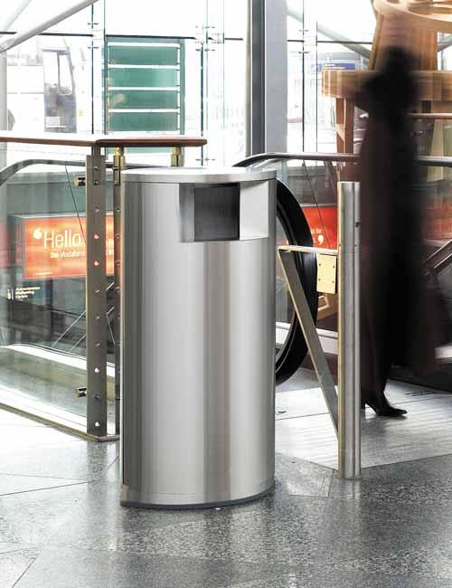 урна для аэропортов FINBIN OAVL нержавейка, встроенный цоколь
