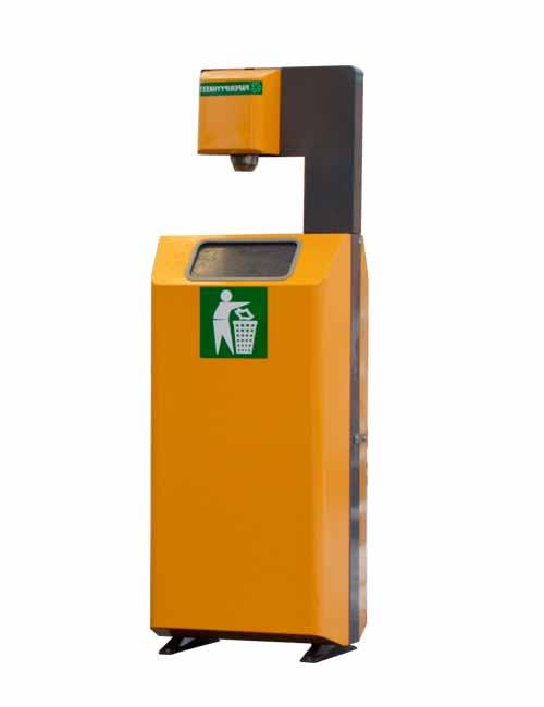 урна желтая с держателем салфеток для АЗС FINBIN ROBOMAT