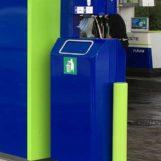 урна для АЗС ROBO синяя FINBIN с наклейкой под мусор