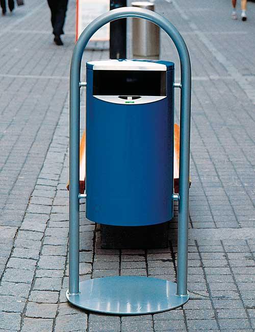 урна с пепельницей на улице, арочная платформа, цвет синий, серия CITY