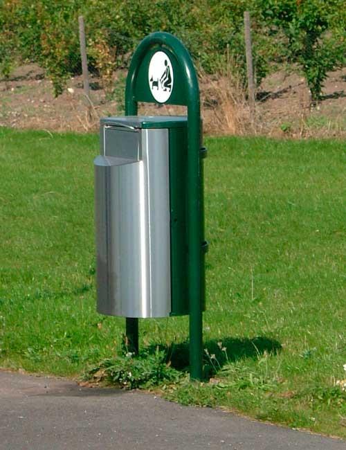 Урна комбинированная нержавеющая сталь и зеленый RAL для уборки за собаками FINBIN DOGGY
