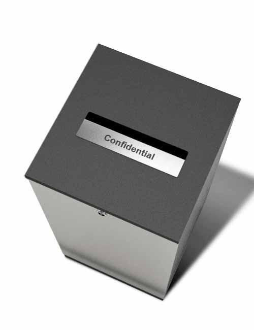 урна из нержавейки с отверстием для конфиденциального мусора FINBIN EDGE