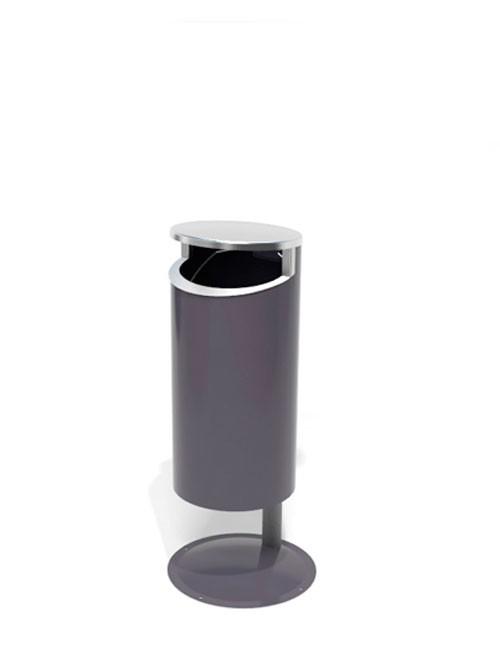 урна с нержавеющей крышкой серого цвета с пакетом под мусор FINBIN NOVUS FLIPTIOP
