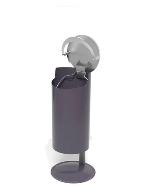 открытая верхняя крышка урны FINBIN NOVUS FLIPTOP на стойке серого цвета