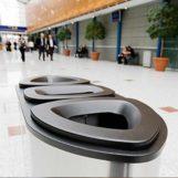урна стальная FINBIN BERMUDA TRIPLE для раздельного сбора мусора на вокзале