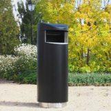 Урна для мусора в парке FINBIN UNIQUE 140 на нержавеющем цоколе черного цвета