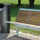 Урна мусорная Ellipse 60 на высоком цоколе в парке