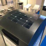 солнечная батарея на крышке урны для мусора FINBIN Media