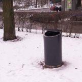 Урна для мусора на улице FINBIN NOVUS 160 литров на нержавеющем цоколе
