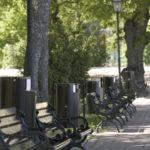 мусорные урны в парке FINBIN CITY 30 монтаж на столбе